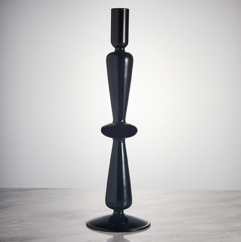 Geometric Black Eco-friendly blown glass candle holder