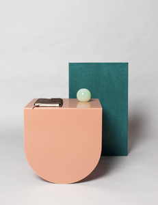 Design geometrical side tables with neutral pastel colors
