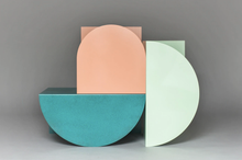 Load image into Gallery viewer, Design geometrical side tables with neutral pastel colors