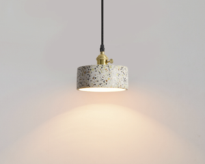 Modern Stylish Stone pendant light in geometric shape with black cord