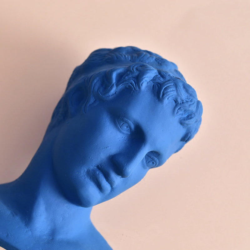 Klein Blue David's Head Ceramic Statue