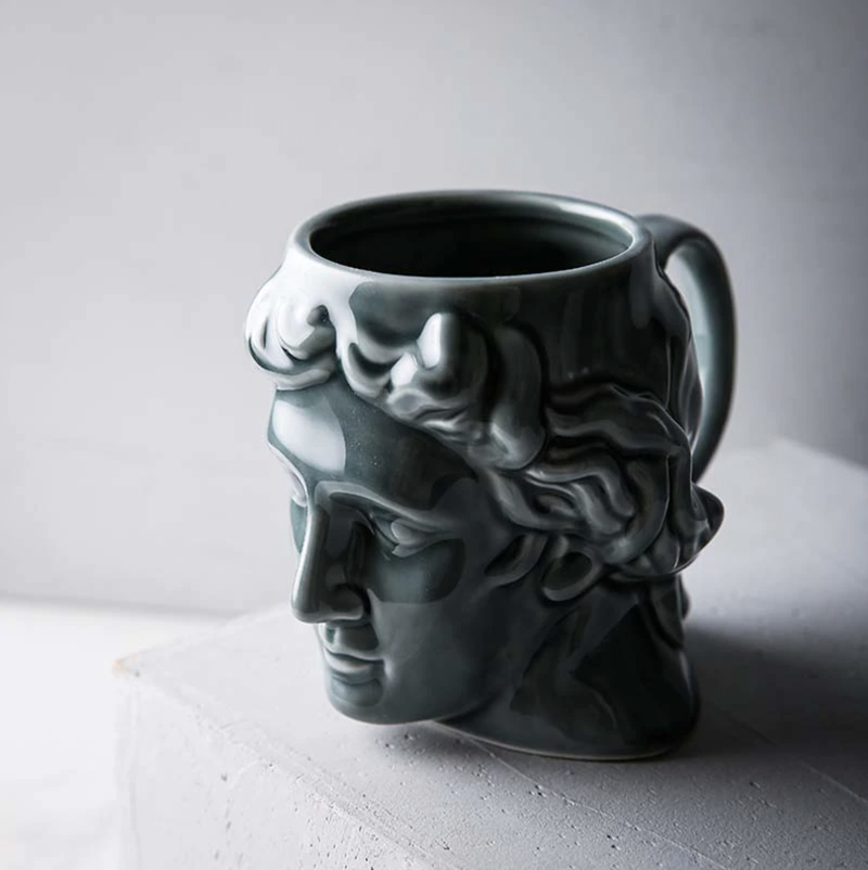 New 1Pcs 580mL 3D Style David Sculpture Ceramic Mug Coffee Tea Milk Drinking Cups with Handle Coffee Mug for Office Novelty Gift grey