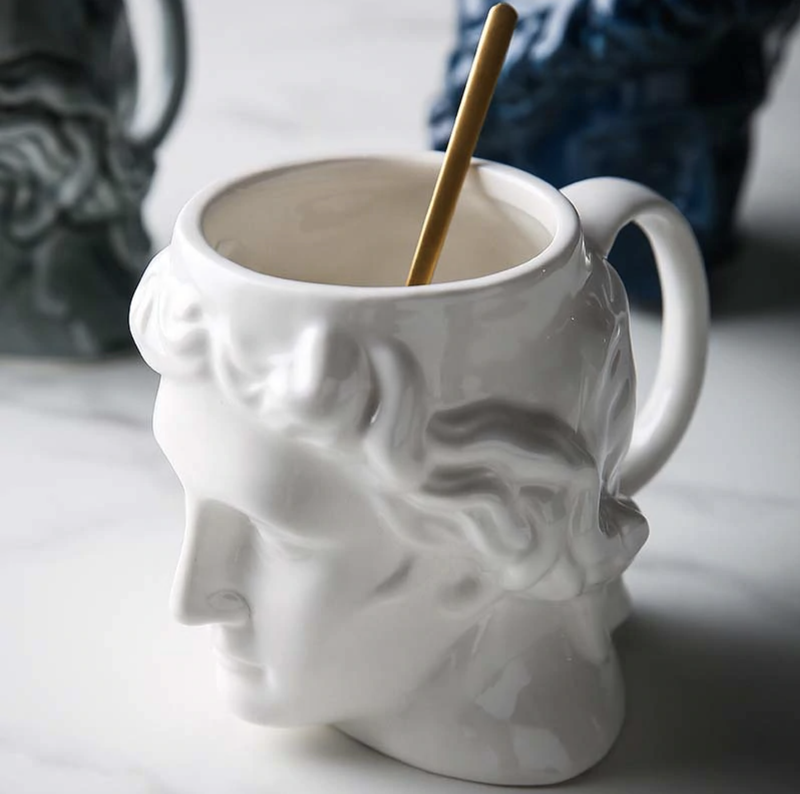 New 1Pcs 580mL 3D Style David Sculpture Ceramic Mug Coffee Tea Milk Drinking Cups with Handle Coffee Mug for Office Novelty Gift white