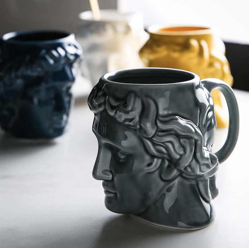 New 1Pcs 580mL 3D Style David Sculpture Ceramic Mug Coffee Tea Milk Drinking Cups with Handle Coffee Mug for Office Novelty Gift