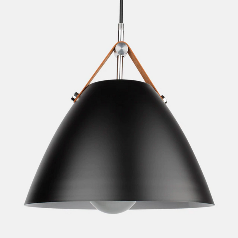 Cone Pendant Light with Leather Strap