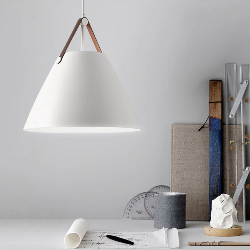 White Cone Pendant Light with Leather Strap