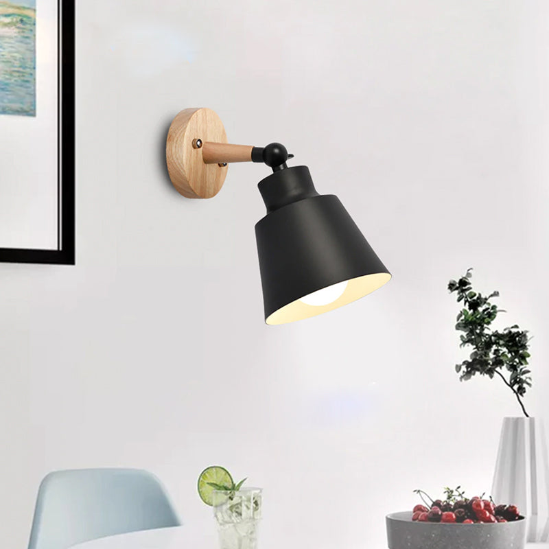 Rotating Wall Sconce in Wood and Metal Black