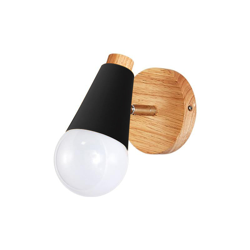 black and wood Cone Wall Sconce lamp