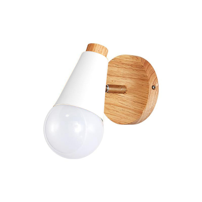 white and wood Cone Wall Sconce lamp