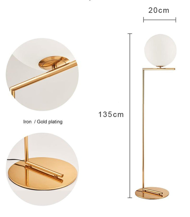 Modern Brass Floor Lamp with Sphere