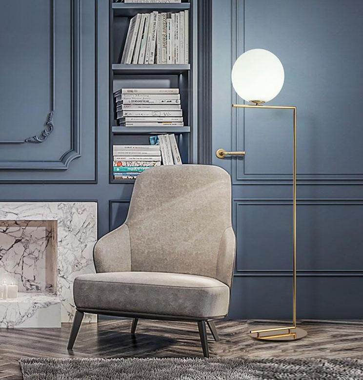 Modern Brass IC Floor Lamp with Sphere Michael Anastassiades