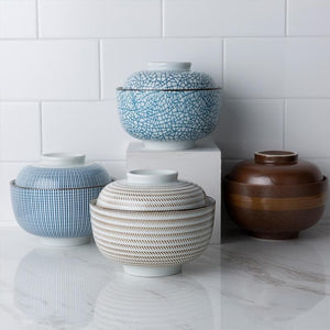 white and Blue, khaki and brown ceramic big bowls with lids