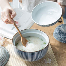 Load image into Gallery viewer, white and Blue, khaki and brown ceramic big bowls with lids