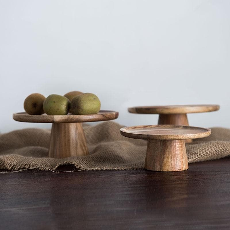 Vintage Natural Wood Cake Stand and Serving Tray for Events and Decor