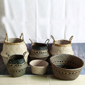 Handwoven natural seagrass storage baskets with handles