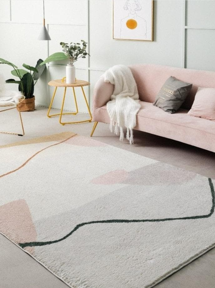 Modern Abstract Blush and Ivory Tones Area Rug for Room Decor and office