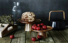 Load image into Gallery viewer, Vintage Natural Wood Cake Stand and Serving Tray for Events and Decor