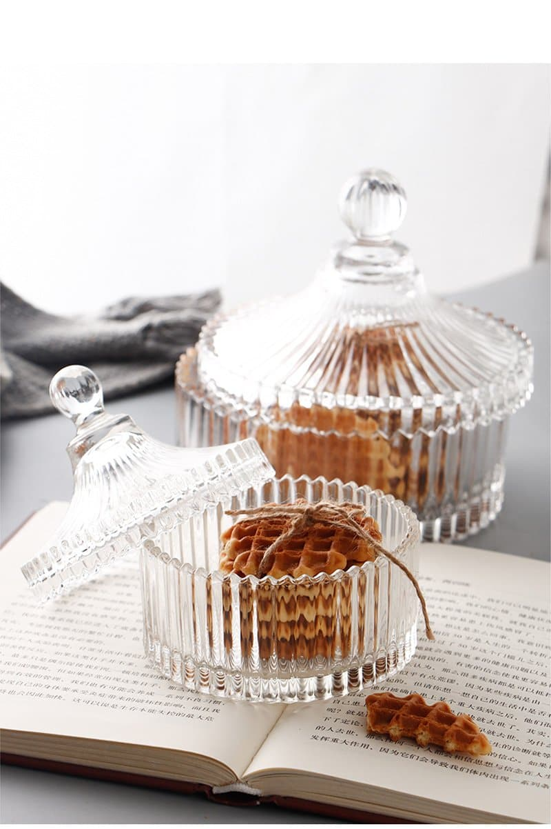 Crystal Glass Candy Jar Box Snacks Storage Container