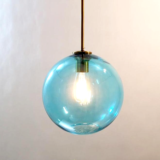 sphere globe brass metal blue tinted glass canopy pendant light