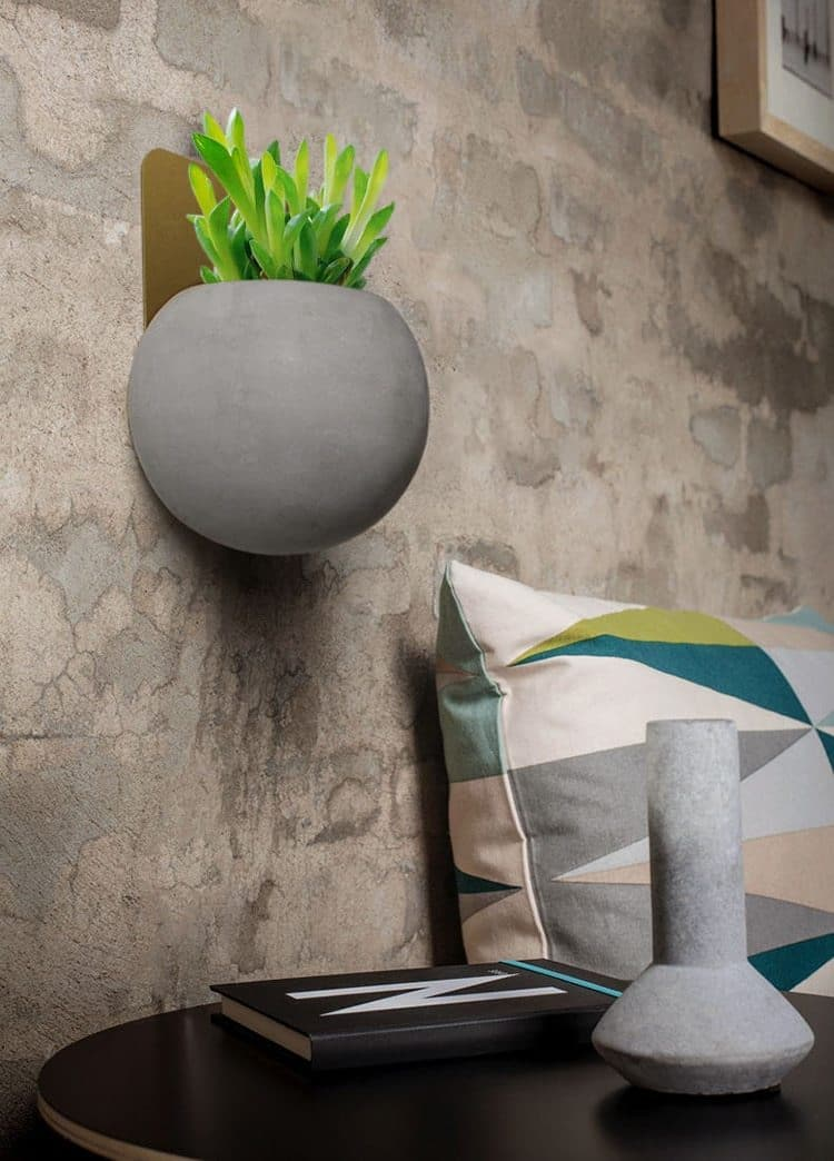 Cement Gold Metal Wall Planter Round Shape