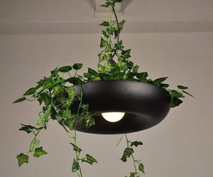 Planter Pendant Light in Metal with LED Bulbs black