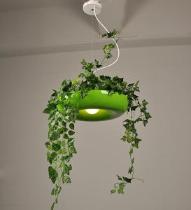 Planter Pendant Light in Metal with LED Bulbs green