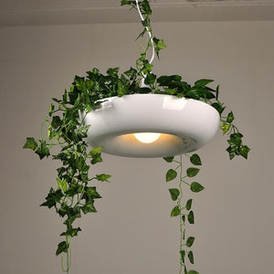 Planter Pendant Light in White Metal with LED Bulbs white