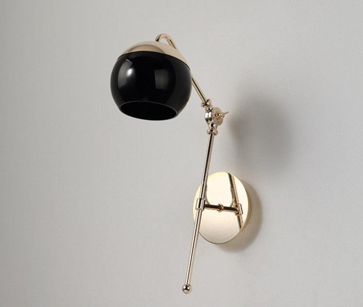 Black Glass Ball & Gold Sconce