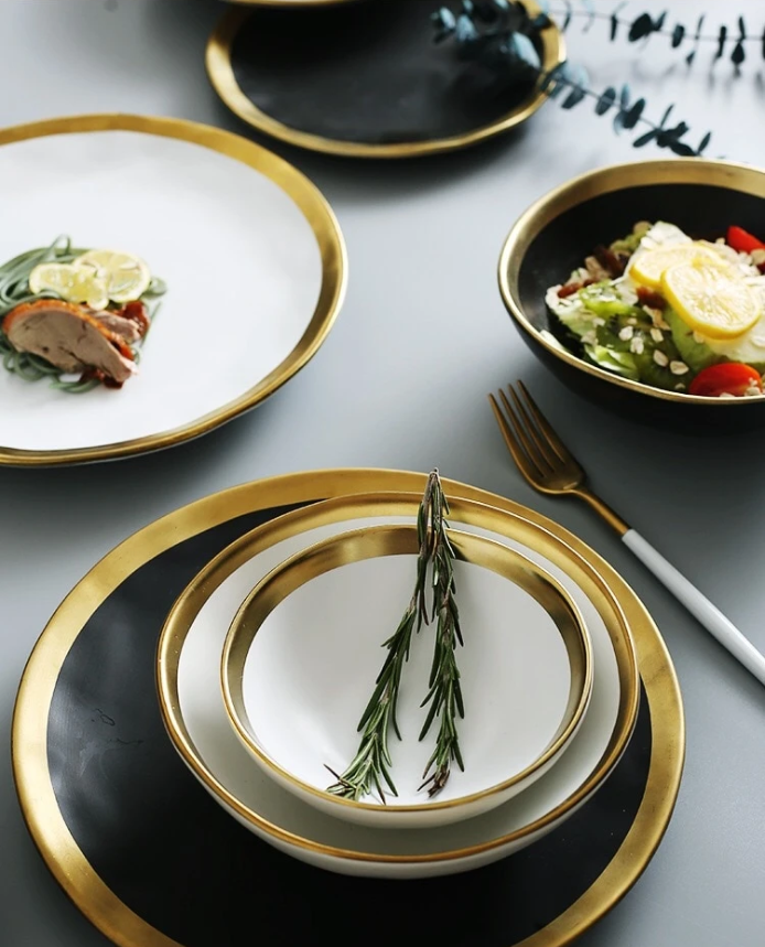 Dinnerware gold rimmed plates and bowls