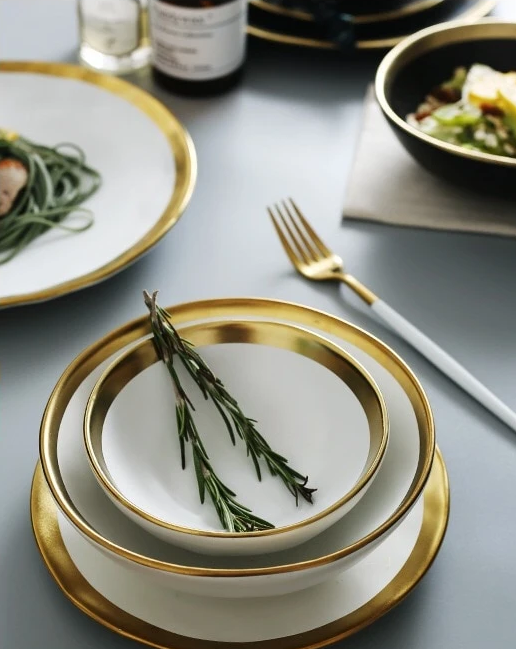 Dinnerware gold rimmed plates and bowls on sale promotion buy online