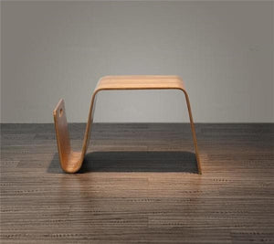 Modern Abstract Wood Side Table and Magazine Rack Storage