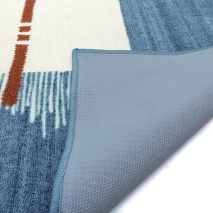 Modern Boho Denim Effect Area Rug for Office and Room Decor