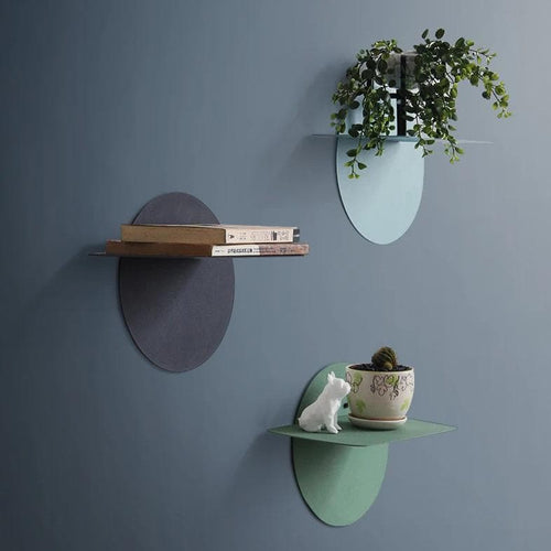 Disc Wall Shelves in Bright Colors Scandinavian Design for Modern Room Decor