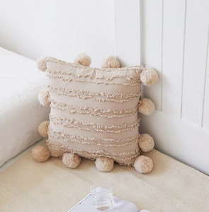 beige 18x18 inch cotton cushion covers with pom poms