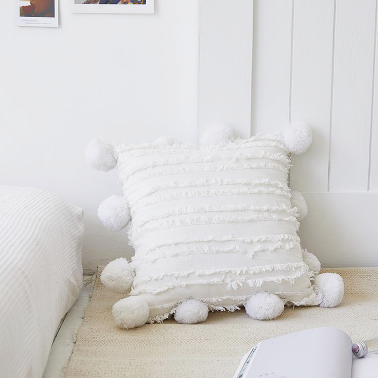 white 18x18 inch cotton cushion covers with pom poms
