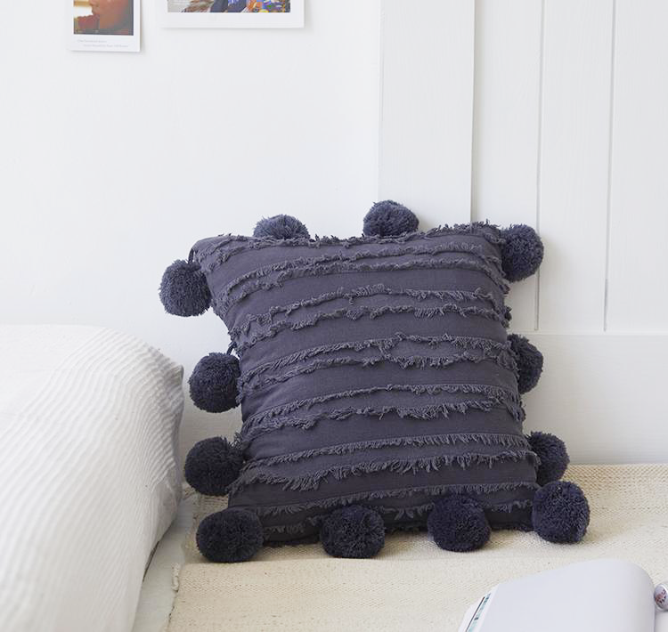 carbon grey 18x18 inch cotton cushion covers with pom poms