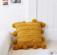 Load image into Gallery viewer, mustard yellow 18x18 inch cotton cushion covers with pom poms