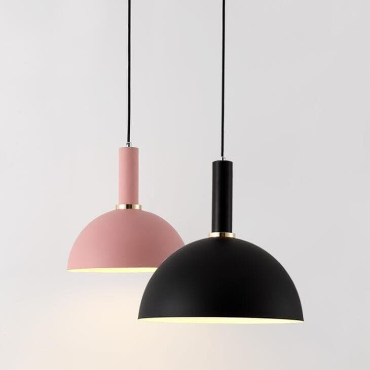 Matte half sphere pink and black metal Modern geometrical neutral pastel color pendant lamps
