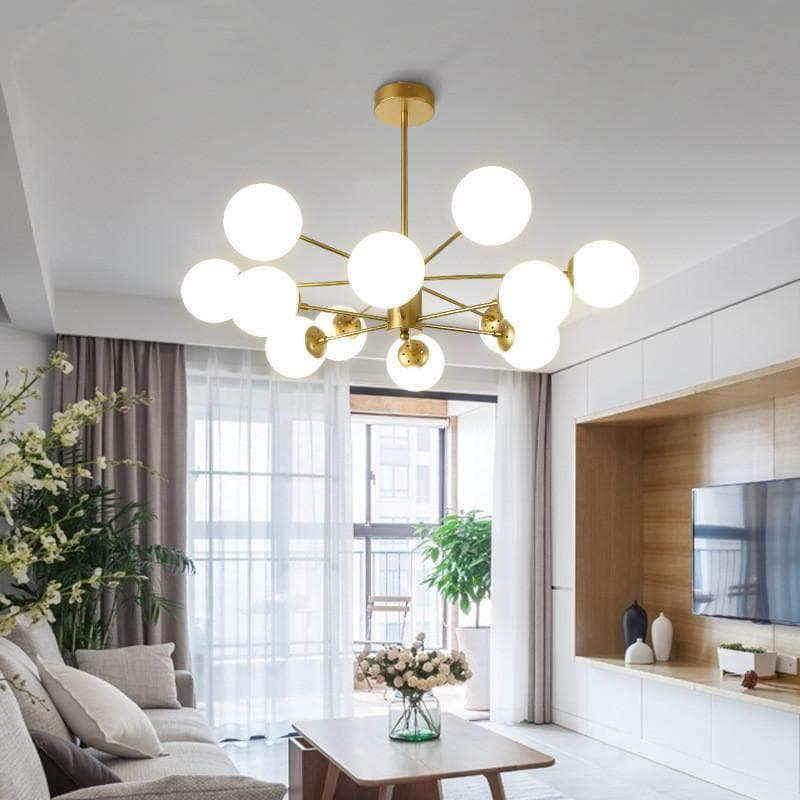 Modern Fitz Sputnik Sphere Chandelier Pendant Globe Light Gold Metal