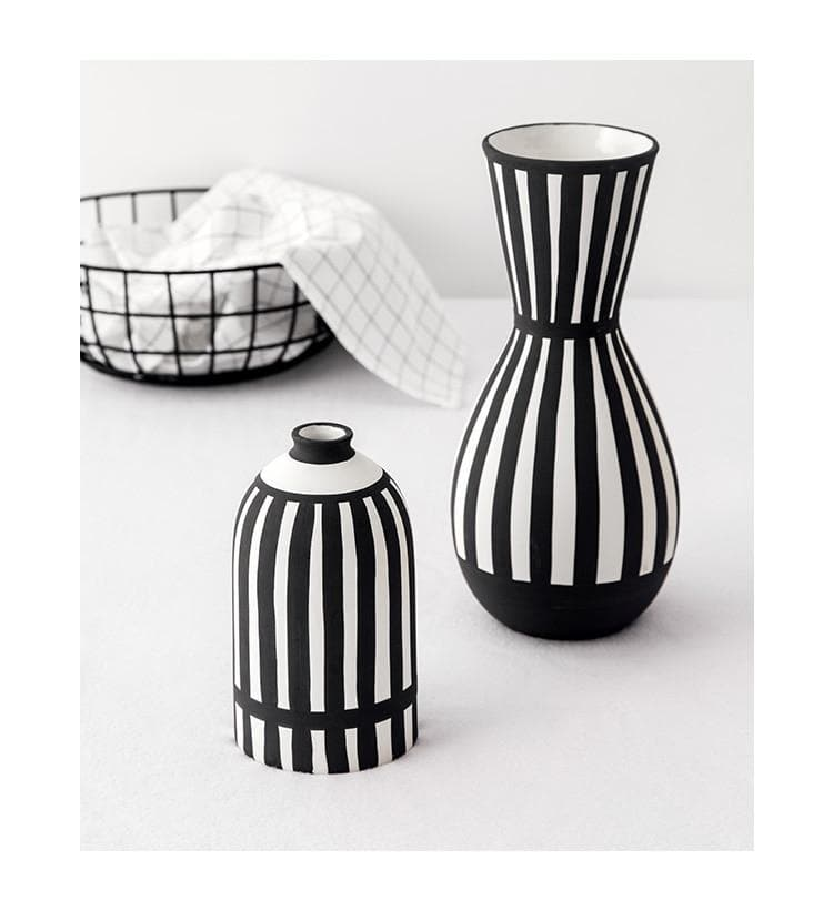 White & Black Ceramic Vase bauhaus