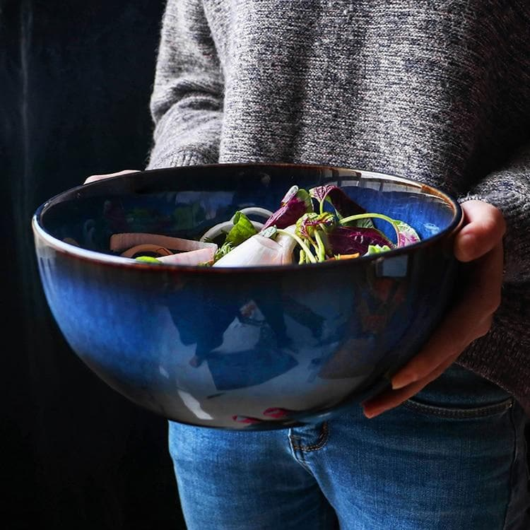 Big blue Ceramic Serving salad Bowl