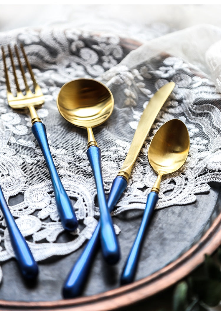 Engraved Contrasting Stainless Steel Gold Flatware 24 Piece Set