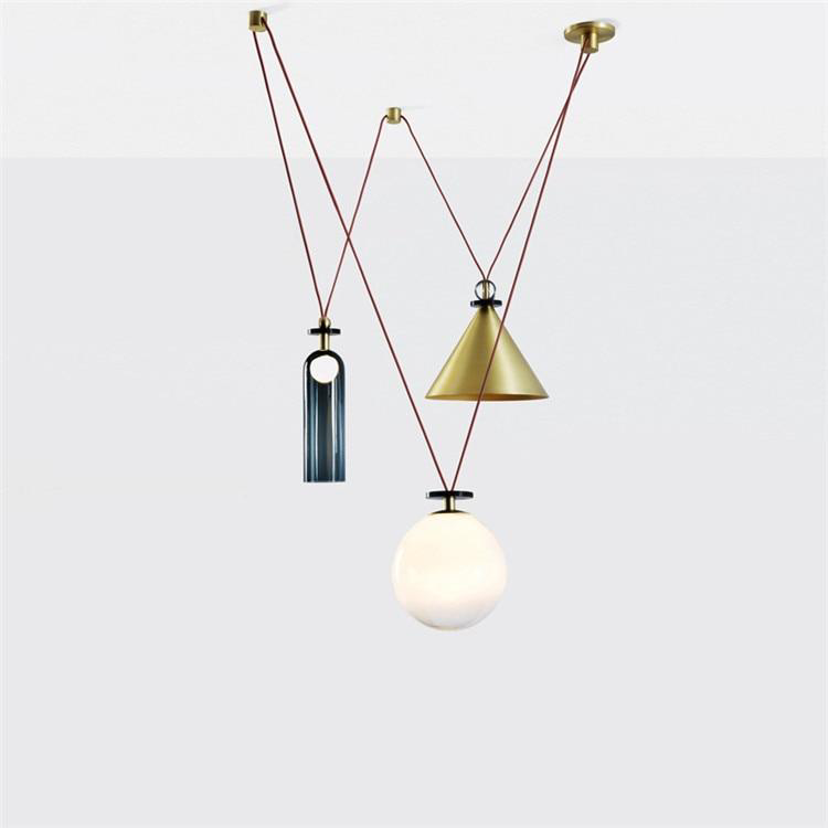 Minimalist Art Gold Glass and Resin Pendant Composition Lights