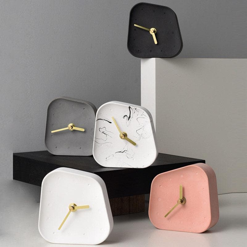 Ceramic Table Clock with Gold Handle and Marble Material for Office and Room Pink White Marble grey black