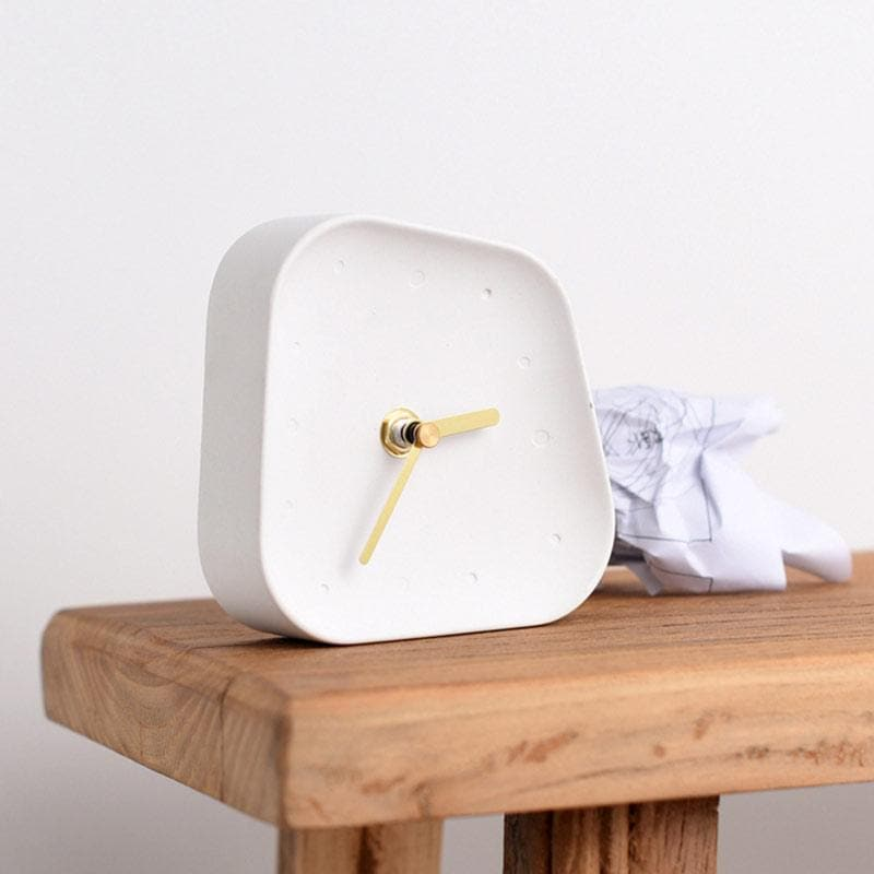 Ceramic Table Clock with Gold Handle and Marble Material for Office and Room White