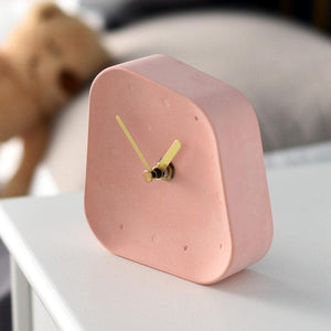 Ceramic Table Clock with Gold Handle and Marble Material for Office and Room Pink
