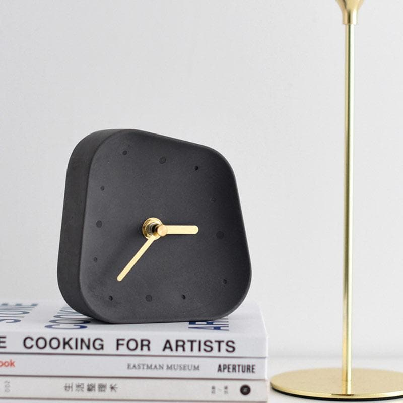 Ceramic Table Clock with Gold Handle and Marble Material for Office and Room Charcoal Black