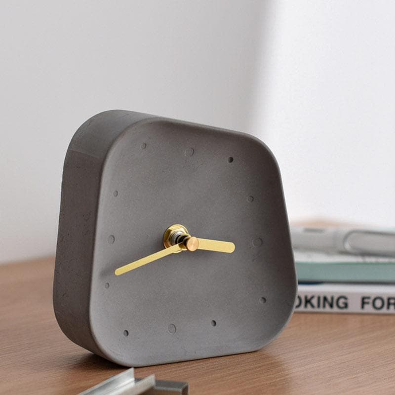 Ceramic Table Clock with Gold Handle and Marble Material for Office and Room Grey
