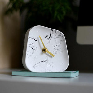 Ceramic Table Clock with Gold Handle and Marble Material for Office and Room White MArble