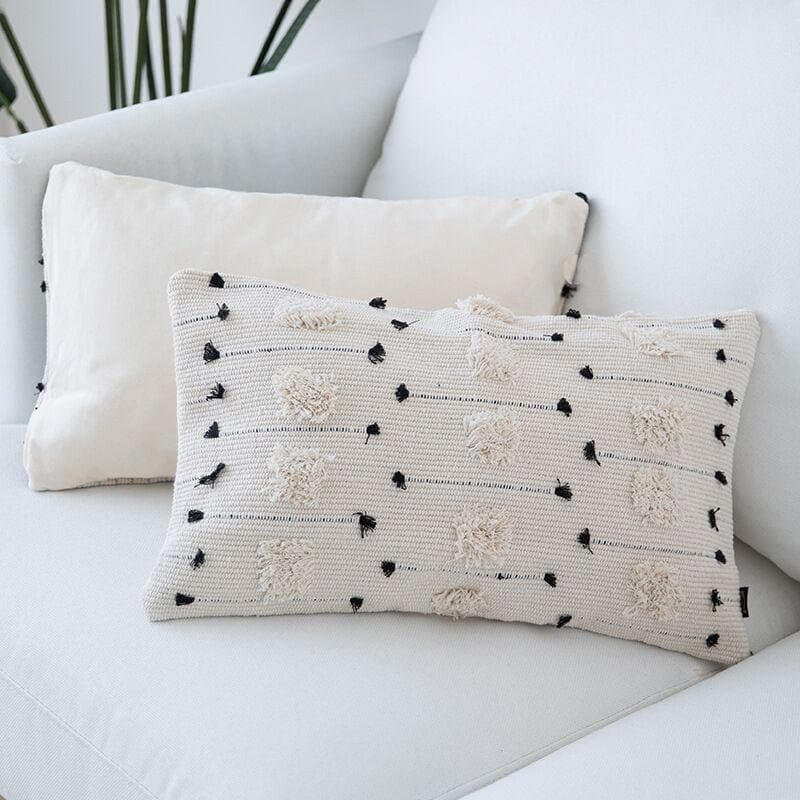 Ivory Black Embroidered Dot Geo Pillow Covered in Canvas 17x17 11x20